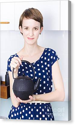 Youthful Canvas Print - Woman With Tea Kettle by Jorgo Photography - Wall Art Gallery