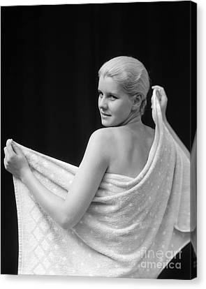 Bare Shoulder Canvas Print - Woman With Towel, 1930s by H. Armstrong Roberts/ClassicStock