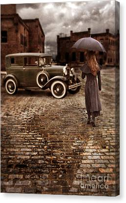 Woman With Umbrella By Vintage Car Canvas Print by Jill Battaglia