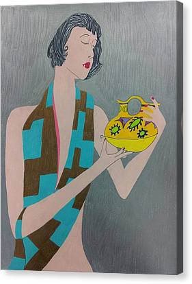 Woman With Vase Canvas Print