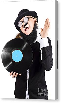Woman With Vinyl Record Over White Background Canvas Print by Jorgo Photography - Wall Art Gallery