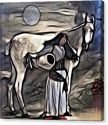 Canvas Print featuring the digital art Woman With White Horse by Alexis Rotella