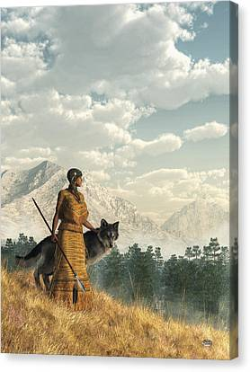 Woman With Wolf Canvas Print