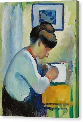 Woman Writing Canvas Print by Franz Marc