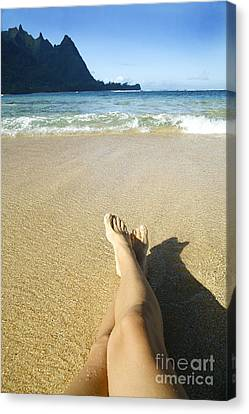 Womans Legs Relaxing Canvas Print by Kicka Witte - Printscapes