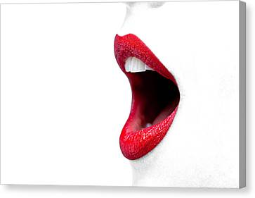 Womans Mouth Wide Open With Red Lipstick. Canvas Print by Richard Thomas