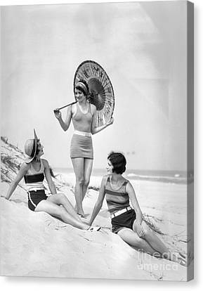Women At The Beach, C.1920s Canvas Print by H. Armstrong Roberts/ClassicStock