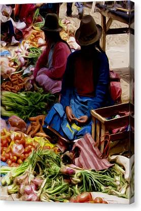 Canvas Print featuring the painting Women At The Market by Shelley Bain