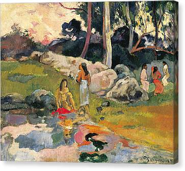 Women By The Riverside Canvas Print by Paul Gauguin