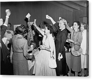 Women Cheering And Toasting Canvas Print by Underwood Archives