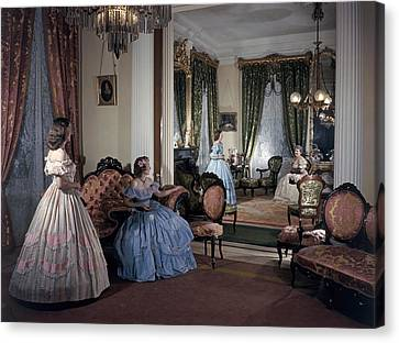 Women In Period Costumes Sit In An Canvas Print by Willard Culver
