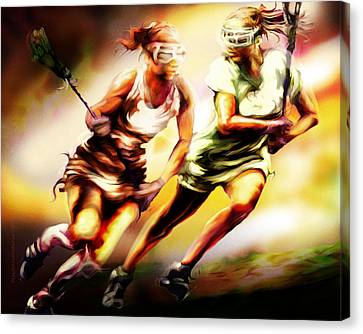 Women In Sports - Lacrosse Canvas Print