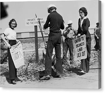 Unrest Canvas Print - Women Pickets In Salinas by Underwood Archives