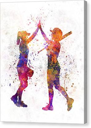 Women Playing Softball 01 Canvas Print
