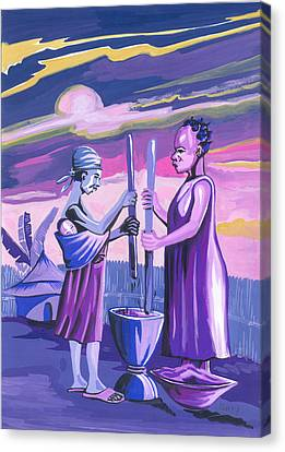 Canvas Print featuring the painting Women Pounding Cassava by Emmanuel Baliyanga