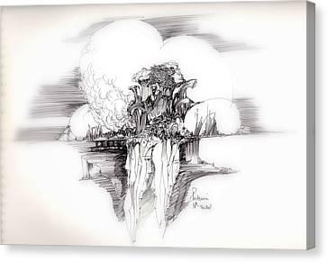 Women Rocks And Clouds Canvas Print by Padamvir Singh