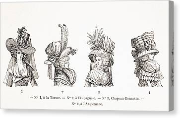 Women. Eighteenth Century Canvas Print - Women S Hat Styles Of The 18th Century by Vintage Design Pics