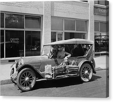 Women Traveling In A 1919 Car Canvas Print