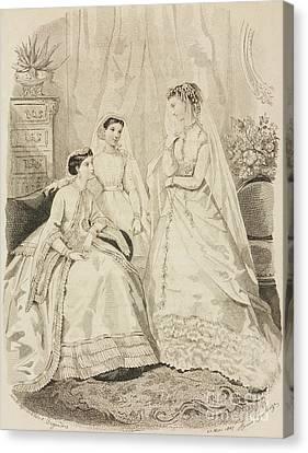 Ladies In Waiting Canvas Print - Women Wearing Elegant Dresses by Adele-Anais Toudouze