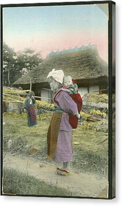 Women With Children In A Village Canvas Print by MotionAge Designs