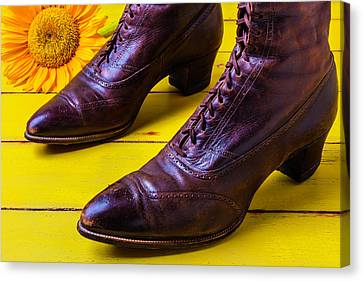 Womens Antique Boots Canvas Print