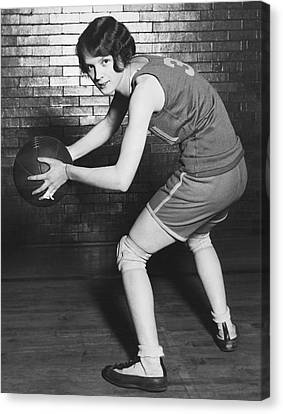 Women's Basketball Champions Canvas Print by Underwood Archives