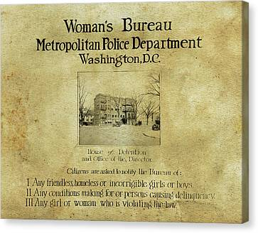 Women's Bureau House Of Detention Poster 1921 Canvas Print by Anthony Murphy