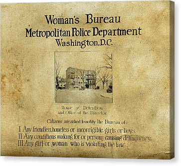 Women's Bureau House Of Detention Poster 1921 Canvas Print by Tony Murphy