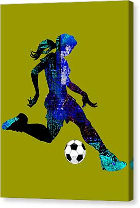 Womens Girls Soccer Collection Canvas Print by Marvin Blaine