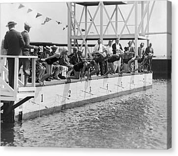 Swim Suit Canvas Print - Women's Swimming Championship by Underwood Archives