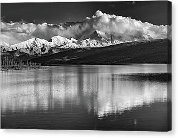 Wonder Lake In Black And White Canvas Print by Rick Berk