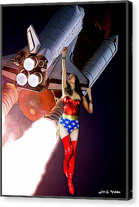 Dc Universe Canvas Print - Usa In Space by Jon Volden