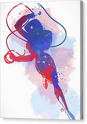Supergirl Canvas Print - Wonder Woman Watercolor by Dan Sproul