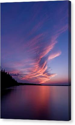Canvas Print featuring the photograph Wonderful Skeleton Lake Sunset by Darcy Michaelchuk