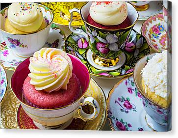 Wonderful Tea Cups With Cupcakes Canvas Print by Garry Gay