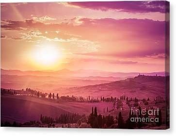 Wonderful Tuscany Landscape With Cypress Trees, Farms And Medieval Towns, Italy. Pink And Purple Sunset Canvas Print by Michal Bednarek