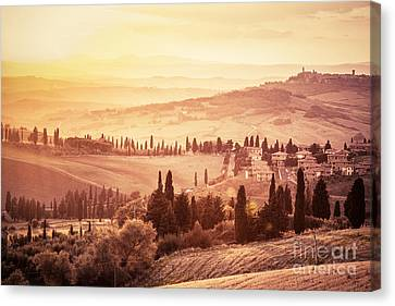 Wonderful Tuscany Landscape With Cypress Trees, Farms And Small Medieval Towns Canvas Print by Michal Bednarek