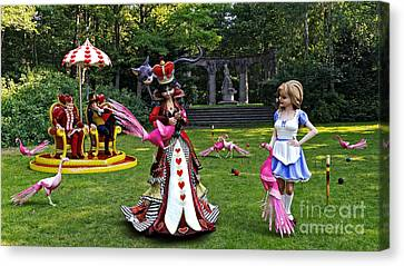 Mad Hatter Canvas Print - Wonderland Croquet Game by Methune Hively