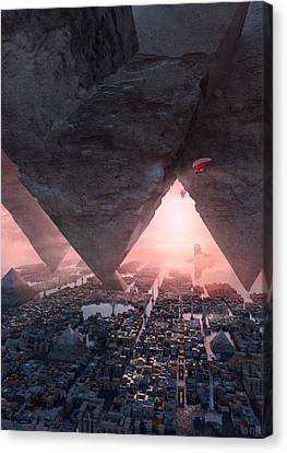 Science Fiction Canvas Print - wonders great pyrimaid of Giza by Te Hu