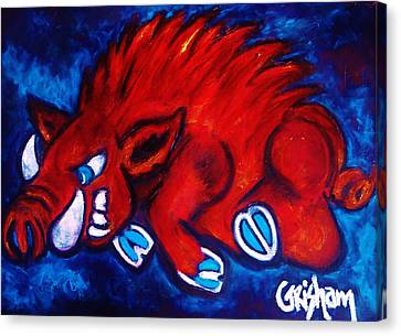 Woo Pig Canvas Print by Laura  Grisham