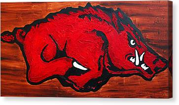 Razorbacks Canvas Print - Woo Pig Sooie by Laura  Grisham