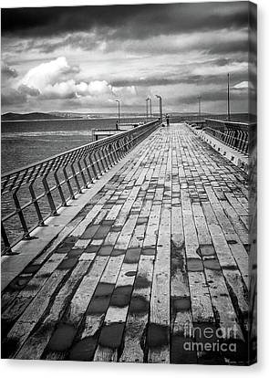 Canvas Print featuring the photograph Wood And Pier by Perry Webster