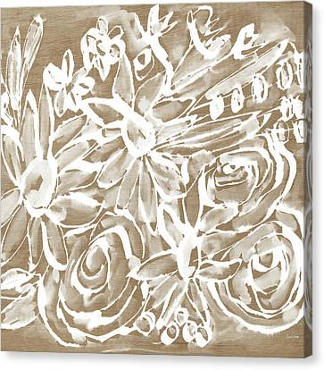 Wood And White Floral- Art By Linda Woods Canvas Print by Linda Woods