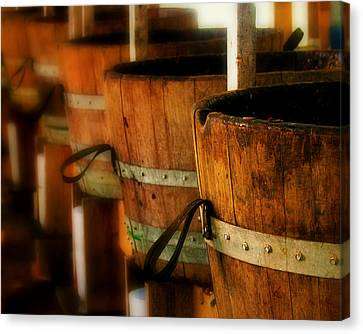 Wood Barrels Canvas Print by Perry Webster