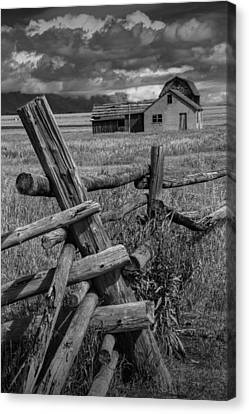 Wood Fence By The Moulton Farm On Mormon Row Canvas Print by Randall Nyhof