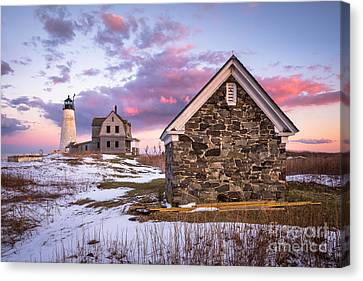 Wood Island Lighthouse In Winter Canvas Print