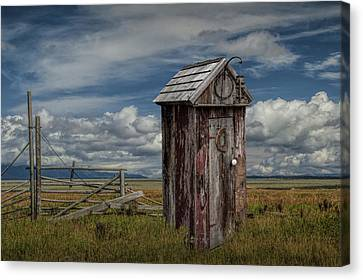 Wood Outhouse Out West Canvas Print by Randall Nyhof