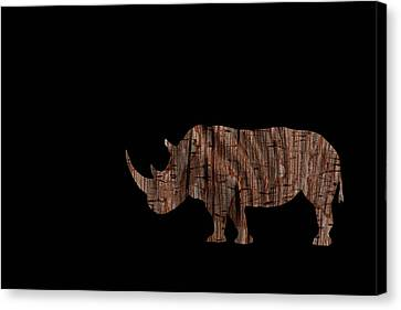 Wood Rhino Canvas Print