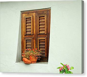 Canvas Print featuring the photograph Wood Shuttered Window, Island Of Curacao by Kurt Van Wagner