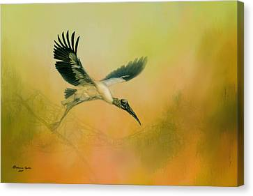 Light Paint Canvas Print - Wood Stork Encounter by Marvin Spates